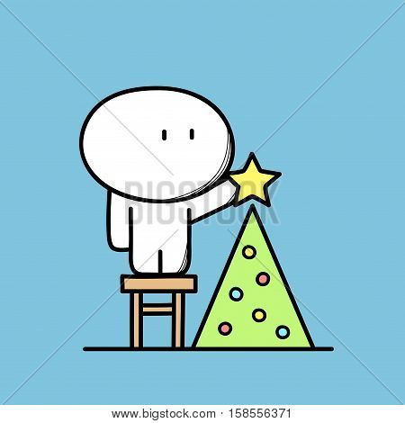 Cute funny man on the stool decorates Christmas tree with lights and the star on the blue background. Xmas and new year holidays - cartoon vector illustration.