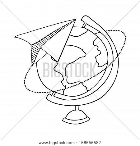 contour with map of the world and plane of paper vector illustration