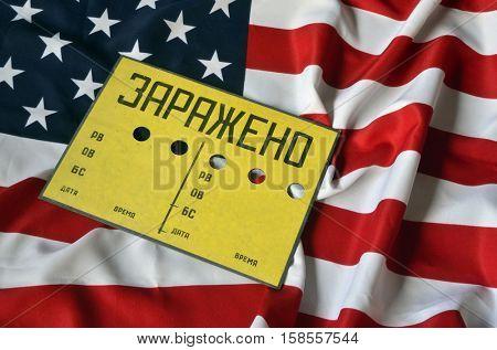 US Flag and Contaminated (RU) sign