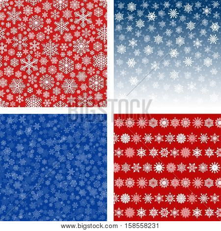Snowflakes Backgrounds and Seamless Patterns Set. Snow falling in blue sky. Intricate white and red decorative prints. Vibrant colors. Christmas and Happy New Year vector design elements.