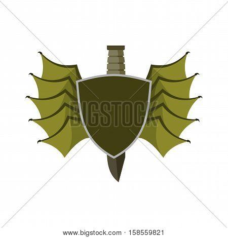 Shield And Bat Wings Emblem. Devil Wing Heraldry Symbol. Military Knife