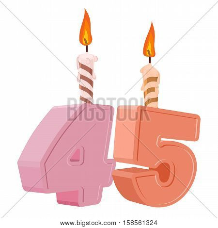 45 Years Birthday. Number With Festive Candle For Holiday Cake. Forty Five Anniversary