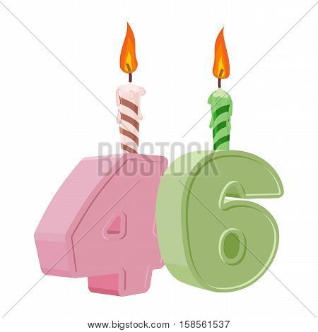 46 Years Birthday. Number With Festive Candle For Holiday Cake. Forty Six Anniversary