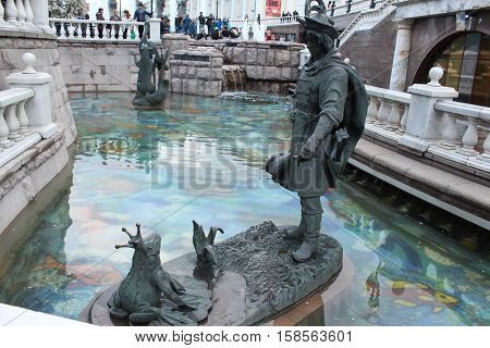 Russia, Moscow 22 May 2016, The architectural ensemble on the Manezhnaya Square: Prince Ivan and the Frog