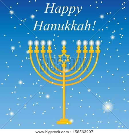 Happy Hanukkah logo , the icon for printing. Beautiful vector background to the holiday of Chanukah. Postcard for congratulations Happy Hanukkah