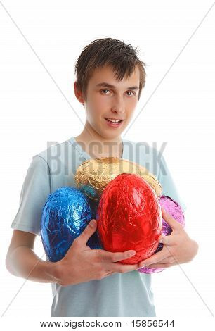 Boy Holding 4 Large Easter Eggs