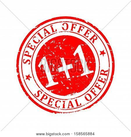 Damaged red round stamp with the inscription - Special Offer 1 + 1 - Vector