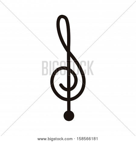 silhouette monochrome with sign music treble clef vector illustration