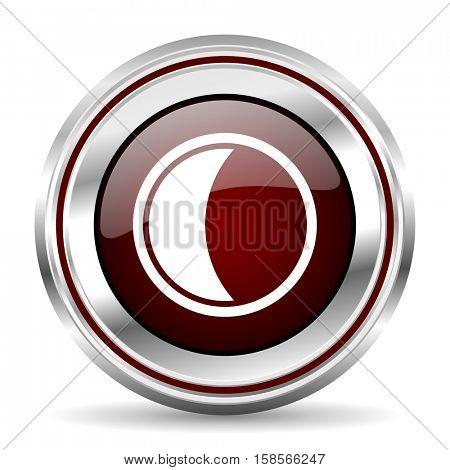 moon icon chrome border round web button silver metallic pushbutton