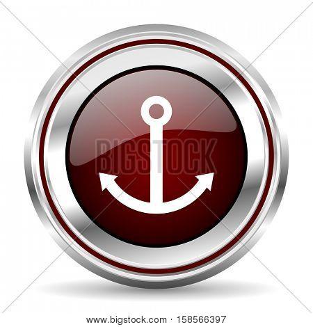 anchor icon chrome border round web button silver metallic pushbutton