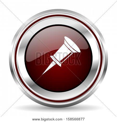 pin icon chrome border round web button silver metallic pushbutton