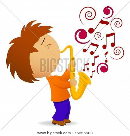 Cartoon Saxophonist With Abstract Music