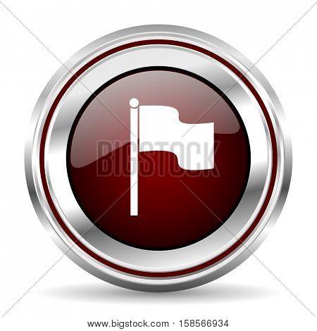 flag icon chrome border round web button silver metallic pushbutton
