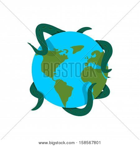 Earth In Tentacles Of Monster. Cthulhu Conquest Of Planet. Giant Octopus Hugging Globe