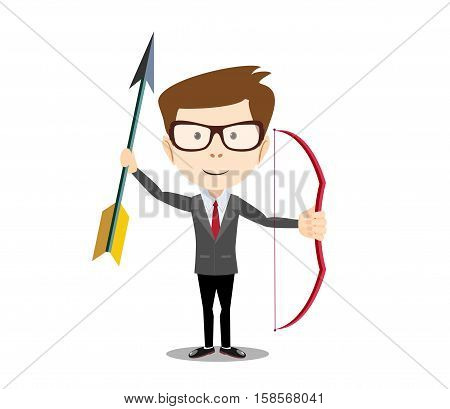 man with a bow and arrow. Stock vector illustration