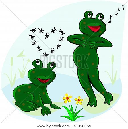 Funny And Carefree Frogs.eps