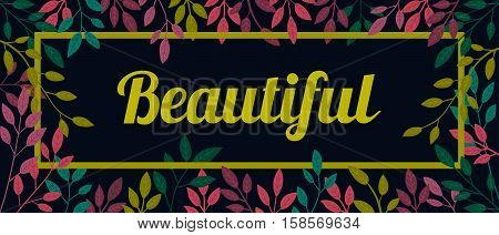 Vector colorful autumn quote in square frame. Autumn banner, poster. Slogan.  Beautiful. T-shirt design. Black background.