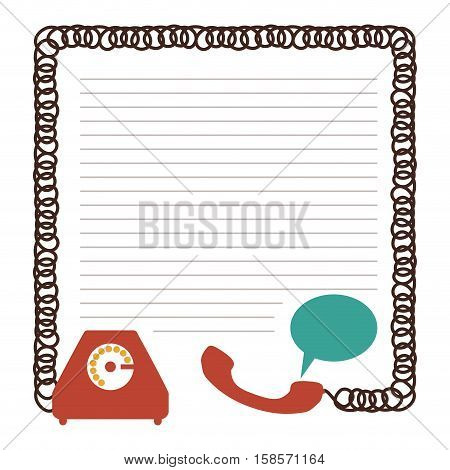 sheet with draw of phone and cord vector illustration