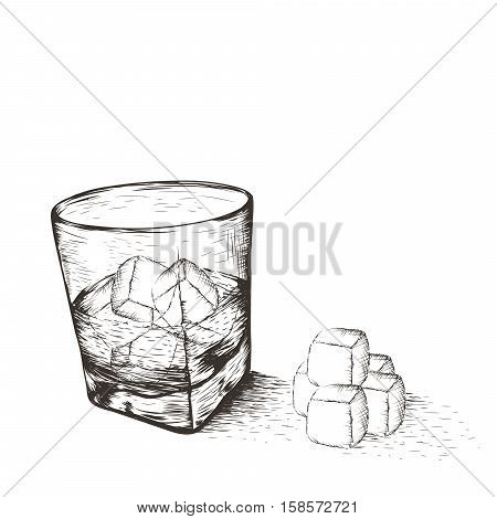 One glass with liquid and ice.Isolated on white background.Vector illustration