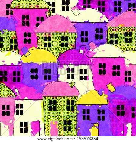A cartoon village of houses painted in messy watercolour style.