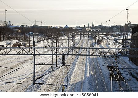 Railway Tracks In Downtown Helsinki