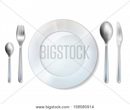 White porcelain dessert plate and tableware cutlery set with fork knife and spoons realistic image vector illustration