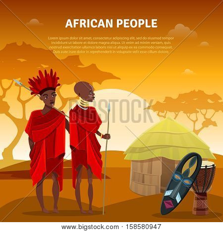 African ethnic tribal customs rituals and culture flat natural background poster with traditional ceremonial mask vector illustration