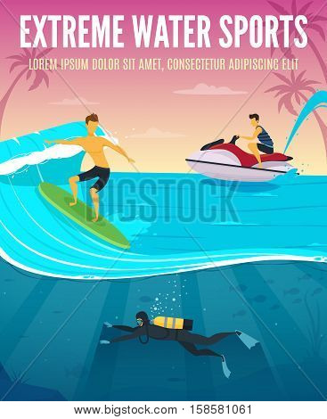 Extreme water sports flat composition tropical vacation poster with underwater snorkeling scuba flinsmimming and waterboarding vector illustration