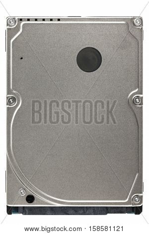 2.5 inch laptop hard disk drive. Top view. Isolated on white background.