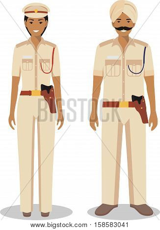 Couple of indian police people isolated on white background. Set of policeman and policewoman standing together. Cute and simple in flat style.