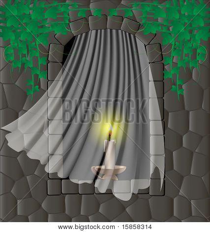 window in the stone wall
