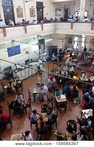 KOLKATA, INDIA - FEBRUARY 11:Visitors of popular Indian Coffee House have lunch in Kolkata on February 11, 2016. The India Coffee House chain was started by the Coffee Cess Committee in 1936 in Bombay