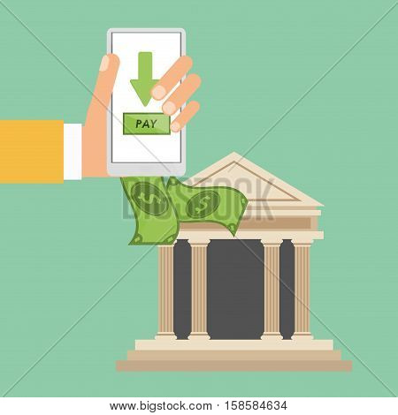 hand holds smartphone bank payment vector illustration eps 10