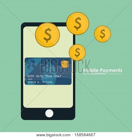 mobile payment smartphone credit card currency dollar vector illustration eps 10