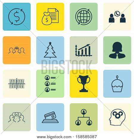Set Of 16 Universal Editable Icons. Can Be Used For Web, Mobile And App Design. Includes Icons Such As Birthday Cake, Phone Conference, Money Trasnfer And More.