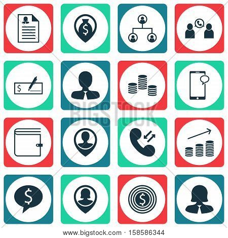 Set Of Hr Icons On Business Goal, Employee Location And Cellular Data Topics. Editable Vector Illustration. Includes Wallet, Bank, Organisation And More Vector Icons.