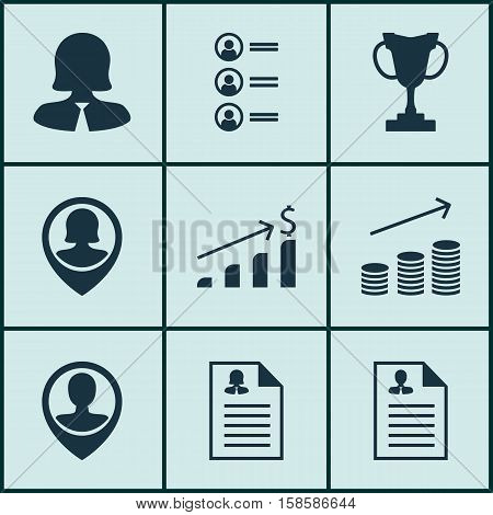 Set Of Hr Icons On Job Applicants, Curriculum Vitae And Business Woman Topics. Editable Vector Illustration. Includes Growth, Employee, Coins And More Vector Icons.