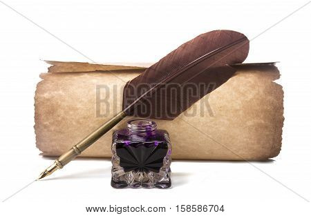 Scroll and fountain pen with feather near inkstand isolated on white background with shadows