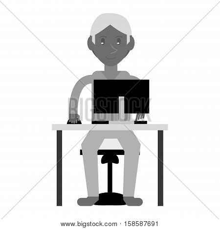 young boy uses computer desk chair design monochromatic vector illustration eps 10