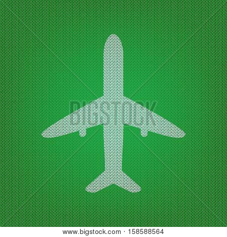 Airplane Sign Illustration. White Icon On The Green Knitwear Or