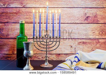 Jewish Holiday Hanukkah Wine Taliit Beautiful Menorah