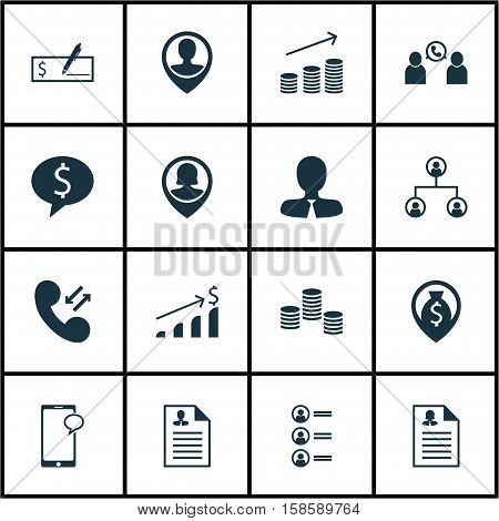 Set Of Human Resources Icons On Pin Employee, Messaging And Employee Location Topics. Editable Vector Illustration. Includes Male, Cellular, Dollar And More Vector Icons.