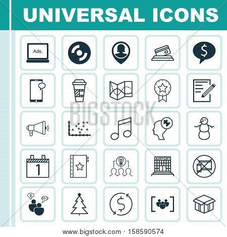Set Of 25 Universal Editable Icons. Can Be Used For Web, Mobile And App Design. Includes Icons Such As Human Mind, Digital Media, Open Cardboard And More.