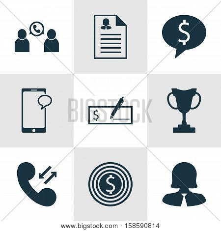 Set Of Hr Icons On Business Deal, Bank Payment And Female Application Topics. Editable Vector Illustration. Includes Money, Cellular, Goal And More Vector Icons.