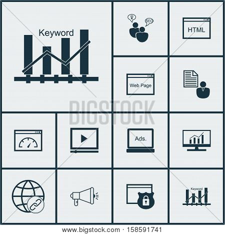 Set Of Advertising Icons On SEO Brainstorm, Connectivity And Digital Media Topics. Editable Vector Illustration. Includes Protected, Client, Consulting And More Vector Icons.