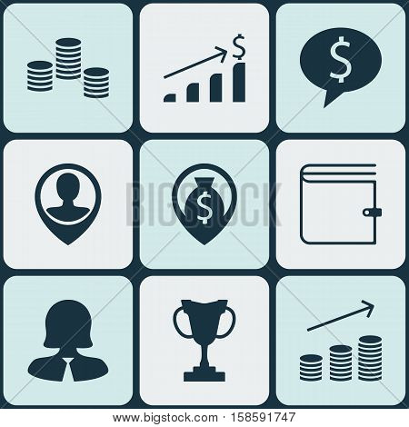Set Of Management Icons On Employee Location, Business Woman And Tournament Topics. Editable Vector Illustration. Includes Coins, Trophy, Money And More Vector Icons.