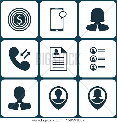 Set Of Human Resources Icons On Job Applicants, Female Application And Messaging Topics. Editable Vector Illustration. Includes Male, Job, Profile And More Vector Icons.