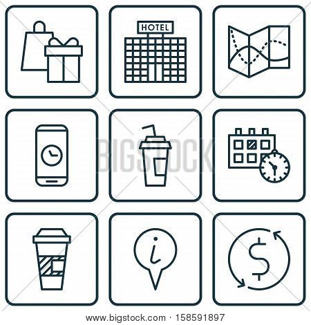 Set Of Traveling Icons On Takeaway Coffee, Shopping And Call Duration Topics. Editable Vector Illustration. Includes Time, Info, Road And More Vector Icons.