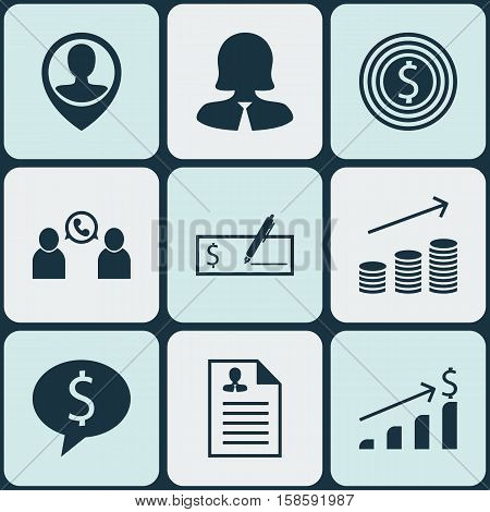 Set Of Human Resources Icons On Phone Conference, Curriculum Vitae And Business Deal Topics. Editable Vector Illustration. Includes Money, Phone, Male And More Vector Icons.