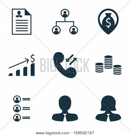 Set Of Management Icons On Successful Investment, Cellular Data And Manager Topics. Editable Vector Illustration. Includes Job, Male, Pin And More Vector Icons.
